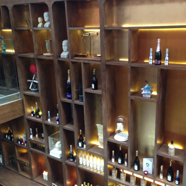 Library bar wall with bottles