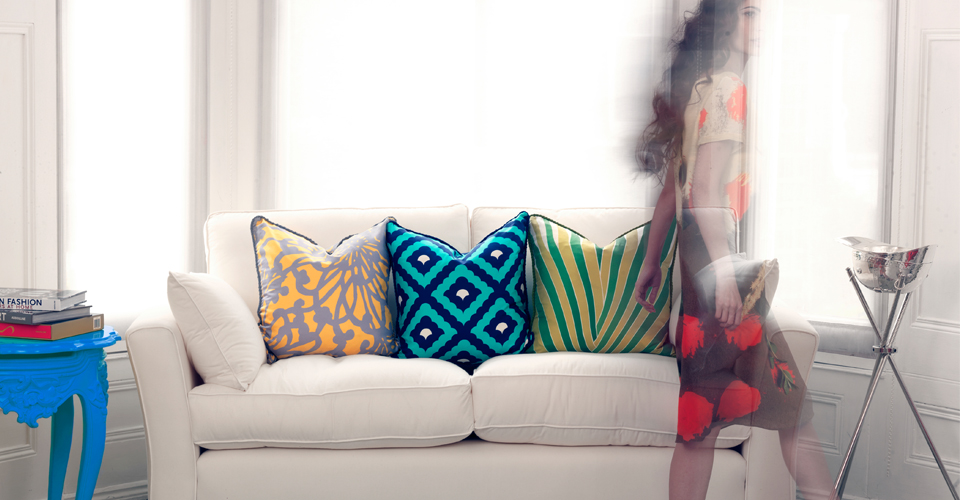 sofa image with model and cushions