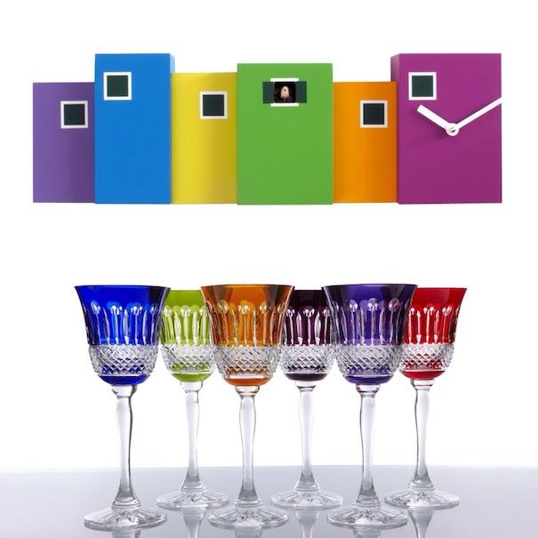 contemporary clock,colourful clock,designer glassware,coloured glassware,