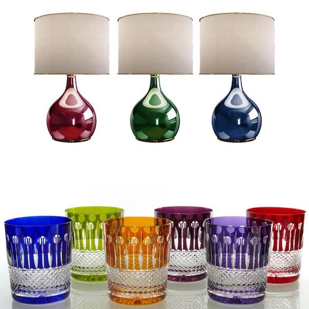 coloured glassware,designer glassware,glass lamps,